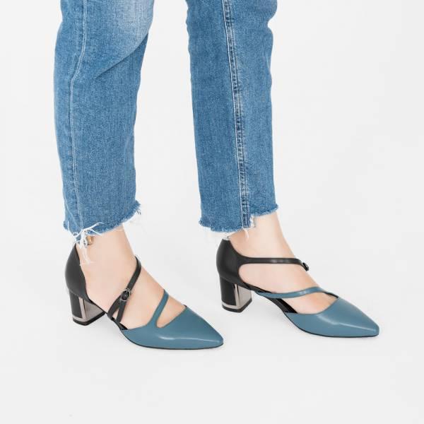 【零碼出清79折,折後1485元】光焦鞋跟!挖背修飾線條中跟鞋 藍黑 全真皮 MIT 【Major Pleasure】-灰寧藍 mit,真皮鞋,跟鞋,中跟鞋,上班鞋,約會,耶誕穿搭