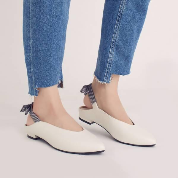 後繫帶穆勒!結花小禮物尖頭鞋 白 全真皮 MIT 【Major Pleasure】-山茶花 平底鞋,穆勒鞋,尖頭鞋,MIT,手工鞋