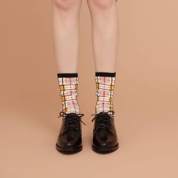 sheer socks透紗襪・幾何系列_黑白格_經典格紋透紗中筒襪・PAPERSELF mit,短襪,棉襪,+10