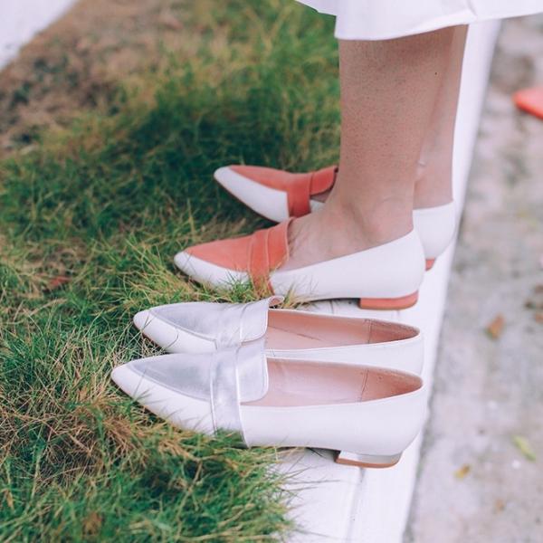 【零碼出清】完美偽瘦腳!蜜光粉蠟雙色平底鞋 內外全真皮 MIT -銀 MIT,真皮,平底鞋,尖頭鞋