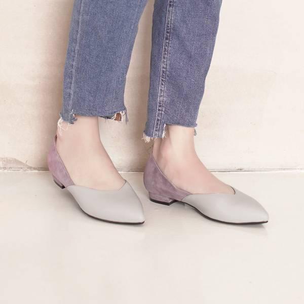 顯瘦修修腳!優雅絲絨雙色平底鞋 全真皮 MIT -米×紫 MIT,真皮,平底鞋,好穿鞋,舒適鞋,尖頭