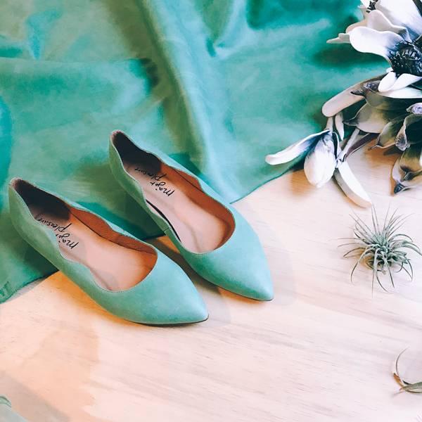 特調花色!雲朵小波浪尖頭鞋 尤加果綠 全真皮 MIT【Major Pleasure】-尤加果綠 草木系 MIT,真皮,尖頭鞋,平底鞋
