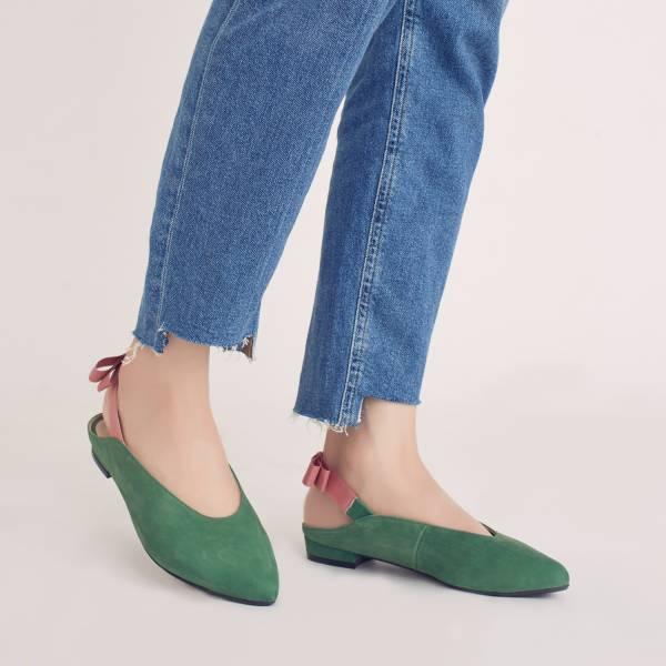 後繫帶穆勒!結花小禮物尖頭鞋 綠 全真皮 MIT 【Major Pleasure】-胭脂脆梅   大地色 草木系 平底鞋,穆勒鞋,尖頭鞋,MIT,手工鞋