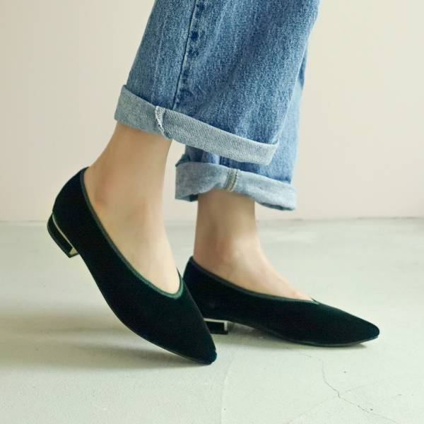日本天鵝絨!曖曖光澤優雅尖頭鞋 綠 MIT 【Major Pleasure】-祖母綠 平底鞋,尖頭鞋,,MIT,手工鞋,Vintage,復古,絲絨,天鵝絨