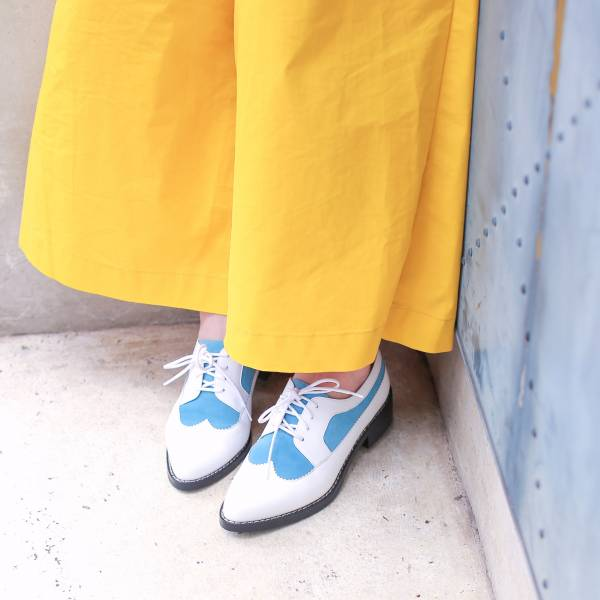 【零碼出清】一起去巴黎!雙層牛奶布蕾德比鞋 全真皮 MIT-天藍 真皮,德比鞋,出國好穿鞋,牛津鞋