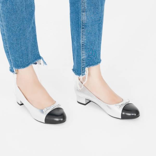皮革結花!雙層夾心低跟小圓頭鞋 銀黑 全真皮MIT 【Major Pleasure】-銀星 mit,真皮鞋,跟鞋,低跟鞋,通勤鞋