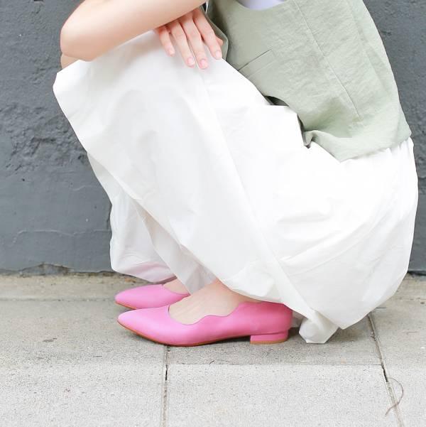 【零碼出清】特調花色!雲朵小波浪尖頭鞋 歐陸玫桃粉 全真皮 MIT 【Major Pleasure】-歐陸玫桃粉 MIT,真皮,尖頭鞋,平底鞋
