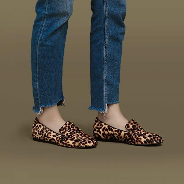 法式散步鞋!經典撞色滾邊樂福鞋 豹紋 全真皮MIT【Major Pleasure】-狂野之城
