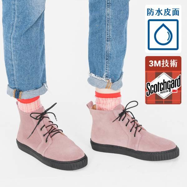 3M機能型!真呼吸輕防水綁帶靴 粉 內外全真皮 MIT【Major Pleasure】-粉撫子 3M,真皮靴,短靴,雨靴,mit
