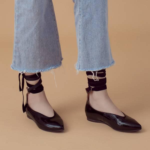 芭蕾繞踝帶!深V挖口內增高尖頭鞋 全真皮 MIT 【Major Pleasure】-黑  婚禮尾牙耶誕穿搭 真皮,MIT,平底鞋,芭蕾舞鞋,尖頭鞋