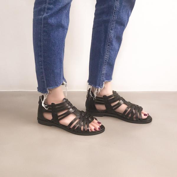 研究室的選品・手工編織!層次森林後拉鍊涼鞋 黑 全真皮 【Major Pleasure】-霧黑 涼鞋,真皮,高跟,真皮鞋