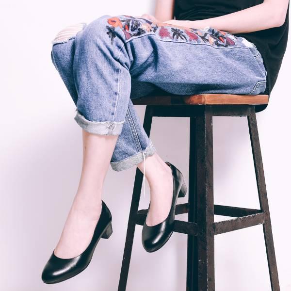 解決磨腳問題!通勤OK奔跑吧柔軟羊皮跟鞋 黑 全真皮 MIT -黑 MIT,真皮,跟鞋,好穿鞋,舒適鞋