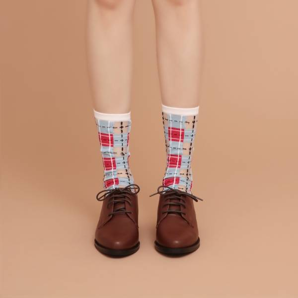 sheer socks透紗襪・幾何系列_褪色單寧_經典格紋透紗中筒襪・PAPERSELF mit,短襪,棉襪,+10