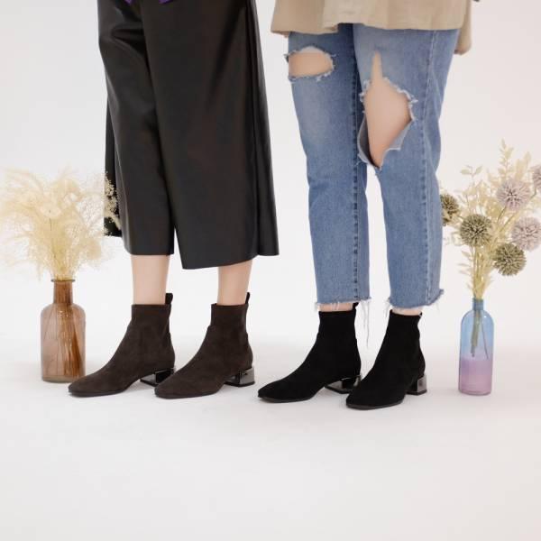 【限量商品售完不補】研究室的選品・彈性麂皮絨布!直腳中跟靴