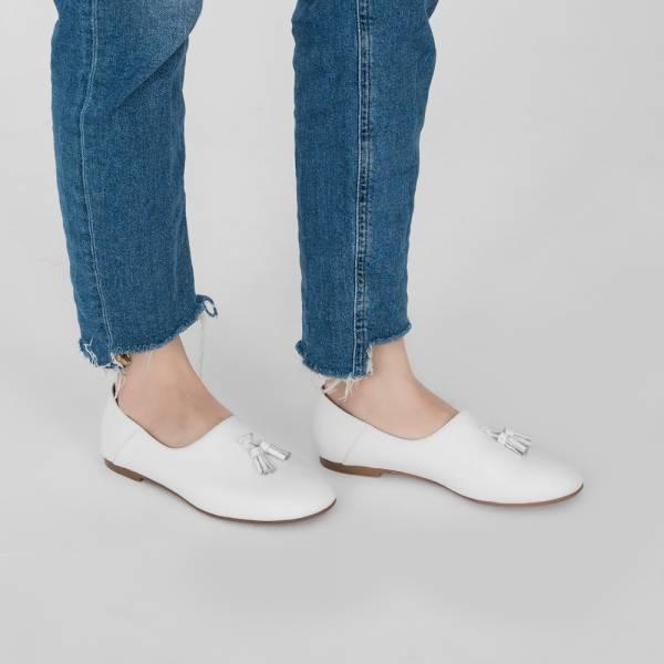 燈穗小流蘇!蓬柔綿綿懶人便鞋 白 全真皮 MIT 【Major Pleasure】-白 無印,平底鞋,MIT,真皮鞋,休閒鞋,日本