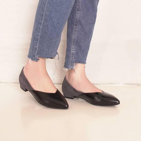 顯瘦修修腳!優雅絲絨雙色平底鞋 全真皮 MIT -黑×灰 MIT,真皮,平底鞋,好穿鞋,舒適鞋,尖頭