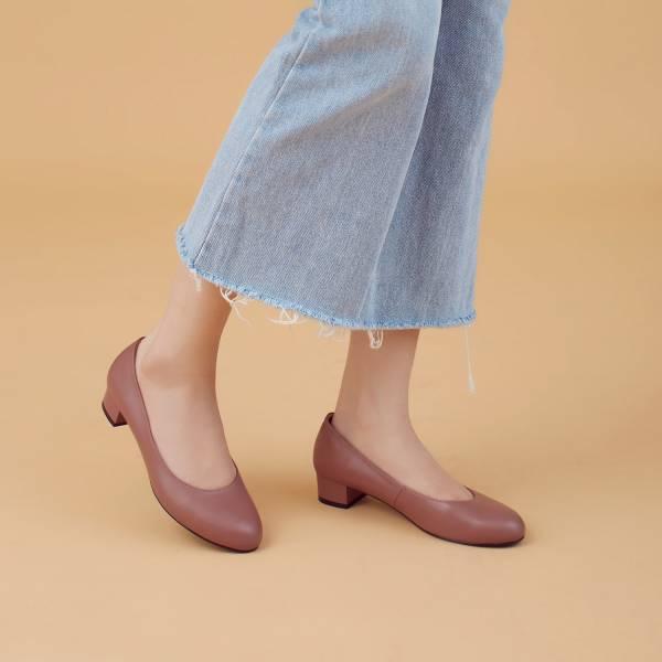 解決磨腳問題!通勤OK奔跑吧柔軟羊皮跟鞋 玫瑰褐 全真皮 MIT -玫瑰褐  大地色 MIT,真皮,跟鞋,好穿鞋,舒適鞋