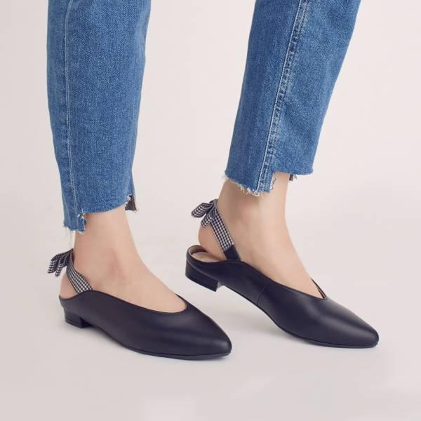 後繫帶穆勒!結花小禮物尖頭鞋 黑 全真皮 MIT 【Major Pleasure】-黑醋栗 平底鞋,穆勒鞋,尖頭鞋,MIT,手工鞋
