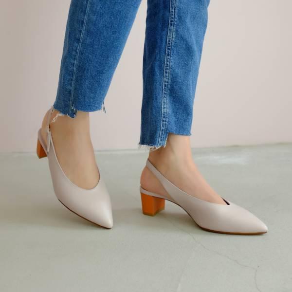 柔軟親膚革!調整比例U口尖頭鞋 米橘撞色 全真皮 MIT 【Major Pleasure】-香橙芬達 手工鞋,跟鞋,中跟鞋,真皮鞋