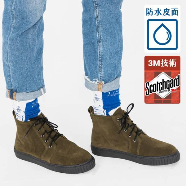 3M機能型!真呼吸輕防水綁帶靴 綠 內外全真皮 MIT【Major Pleasure】-棕綠色 3M,真皮靴,短靴,雨靴,mit