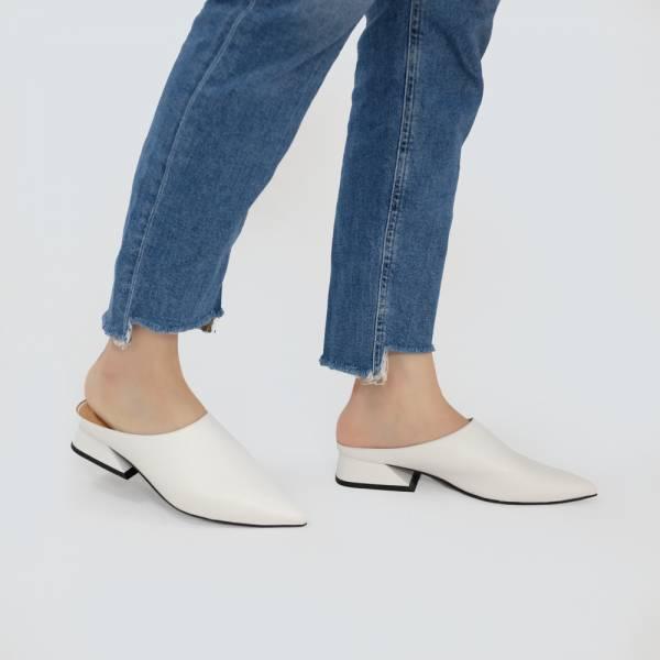 微正式!簡單純色調尖頭穆勒鞋 白 全真皮MIT【Major Pleasure】-優白色 MIT,真皮鞋,穆勒鞋,好穿鞋,拖鞋