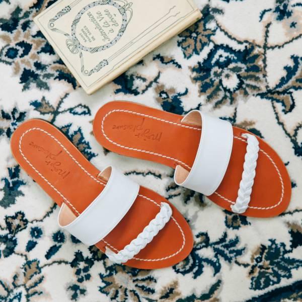 越穿越亮!原色皮革麻花辮拖鞋 白 植鞣牛皮 MIT【Major Pleasure】-白 拖鞋,mit,真皮,度假,真皮鞋,好穿鞋