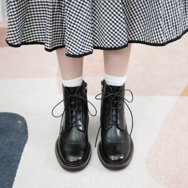 研究室的選品・遇見探險家!側拉鍊綁帶靴 黑 真皮靴【Major Pleasure】-紳黑木