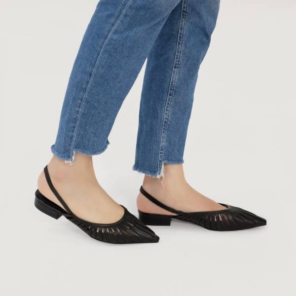 研究室的選品・編織花葉瓣平底涼鞋 黑 全真皮【Major Pleasure】-黑鬱色 真皮鞋,涼鞋,編織鞋