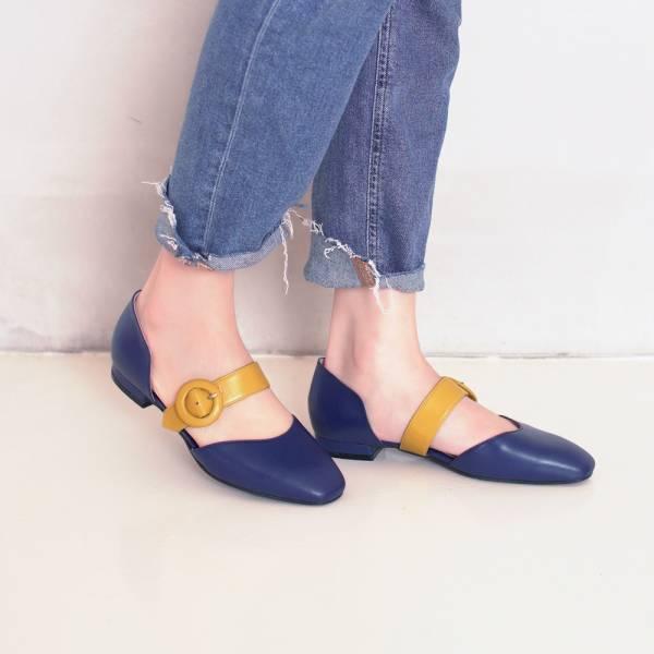 餅乾小圓釦!雙色繫帶小方頭便鞋 藍 全真皮 MIT 【Major Pleasure】-藍莓×黃 復古,小方頭,平底鞋,MIT