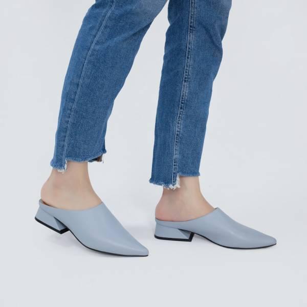 微正式!簡單純色調尖頭穆勒鞋 藍 全真皮MIT【Major Pleasure】-藍染色 MIT,真皮鞋,穆勒鞋,好穿鞋,拖鞋