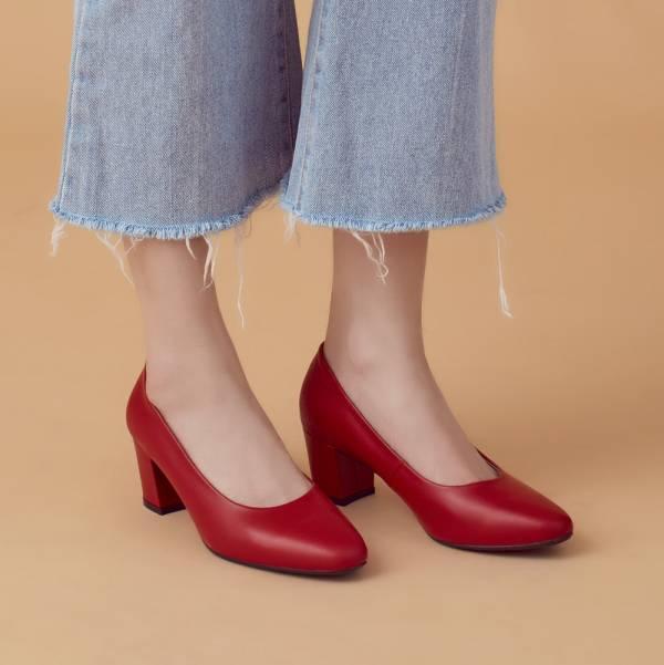 微整形效果!通勤OK小方頭中跟鞋 全真皮 MIT 【Major Pleasure】-煙燻紅   婚禮尾牙耶誕穿搭 真皮,MIT,跟鞋,方頭鞋,中跟鞋,通勤鞋