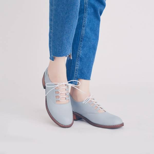 研究室的選品・無重輕盈底!蓬鬆綿綿裸肌綁帶鞋 藍 全真皮 MIT【Major Pleasure】-天空色 真皮鞋,mit,綁帶鞋,樂福鞋,休閒鞋