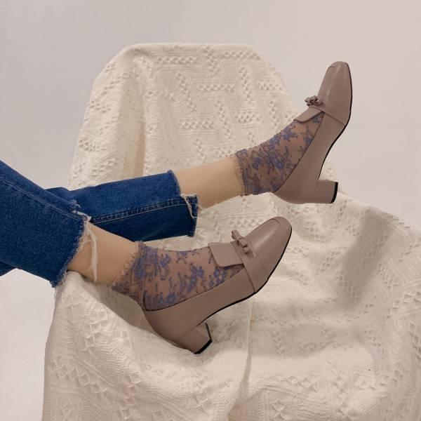 復古大方頭!優雅結花方塊粗跟鞋 藕 全真皮 MIT 【Major Pleasure】-薊紫 復古,方頭,跟鞋,MIT,真皮鞋