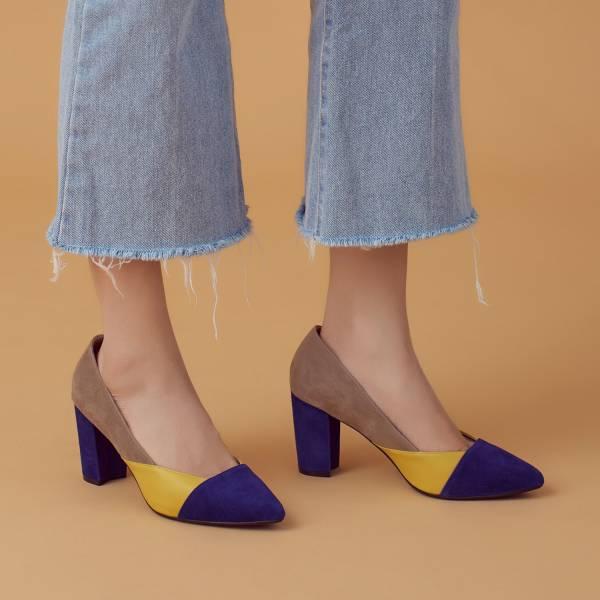 彈力低噪鞋跟!色塊軟羊皮粗跟鞋 柏林藍黃棕 高跟鞋 全真皮 MIT 【Major Pleasure】-柏林藍黃棕  婚禮尾牙耶誕穿搭 高跟鞋,真皮,MIT,好穿鞋,跟鞋