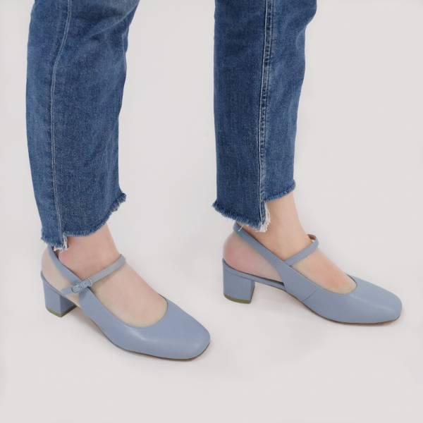 復古大人瑪莉珍!方頭中跟後涼鞋 藍 全真皮MIT【Major Pleasure】-愛麗絲藍 MIT,真皮,中跟鞋,跟鞋,涼鞋,瑪莉珍鞋,MARYJANES