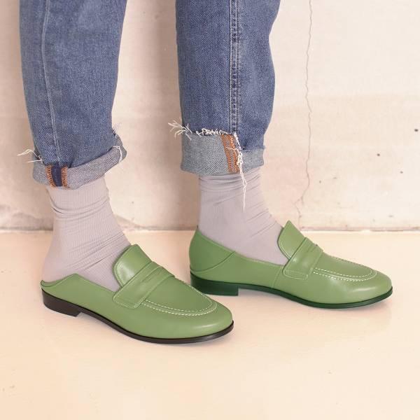 可踩兩穿式!月球漫步便士樂福鞋 綠 環保超纖MIT 【Major Pleasure】-抹茶色 樂福鞋,mit,出國好走鞋.休閒鞋