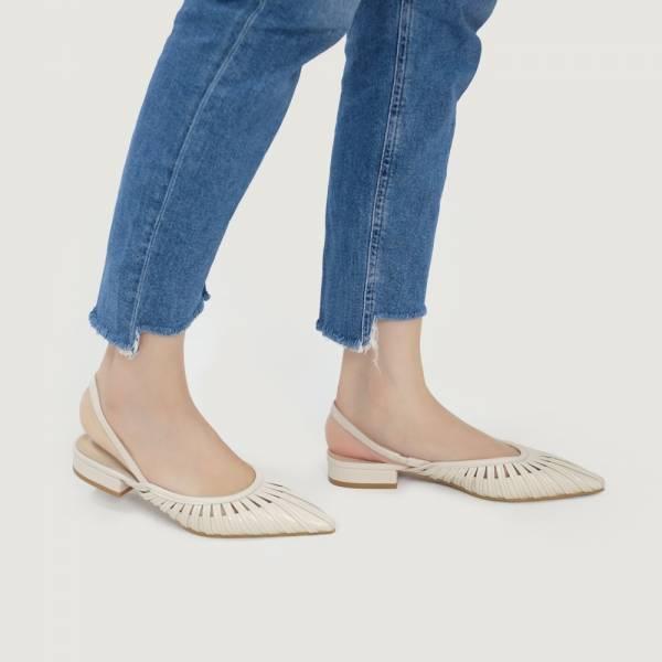 研究室的選品・編織花葉瓣平底涼鞋 米 全真皮【Major Pleasure】-米梔色 真皮鞋,涼鞋,編織鞋