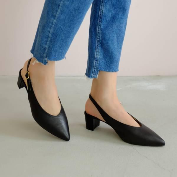 柔軟親膚革!調整比例U口尖頭鞋 黑 全真皮 MIT 【Major Pleasure】-甜黑芝麻 手工鞋,跟鞋,中跟鞋,真皮鞋