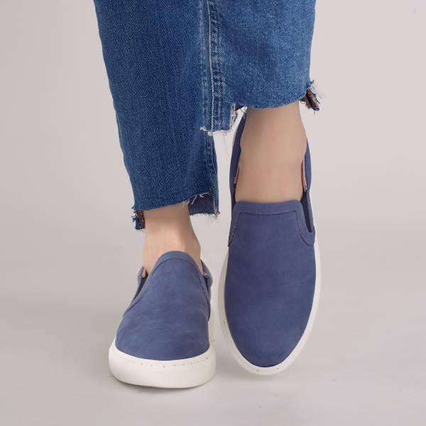 漫步在雲端!輕盈羽量記憶舒壓懶人鞋 深藍 全真皮 MIT -琉璃藍色 MIT,真皮,厚底鞋,懶人鞋,出國好穿鞋,輕便鞋