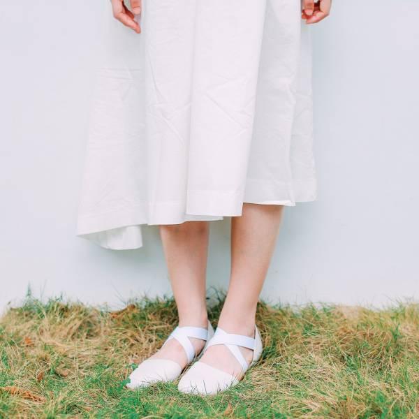 【零碼出清】修飾兩側足寬!交叉彈性帶小舞鞋 全真皮  MIT-白 MIT,全真皮,芭蕾舞鞋,平底鞋