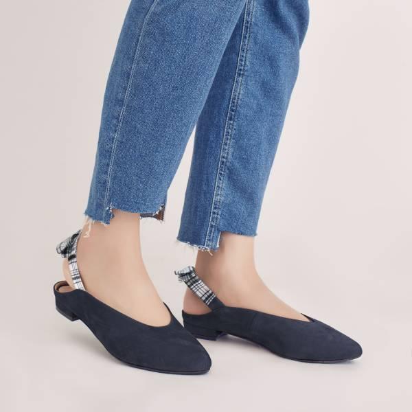 後繫帶穆勒!結花小禮物尖頭鞋 藍 全真皮 MIT 【Major Pleasure】-皇家藍衫  牛巴戈 平底鞋,穆勒鞋,尖頭鞋,MIT,手工鞋