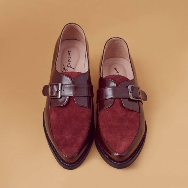 改良開襟式!不磨腳軟芯雙色孟克鞋 酒紅 全真皮 MIT 【Major Pleasure】-酒紅 真皮,孟克鞋,紳士鞋,MIT,牛津鞋