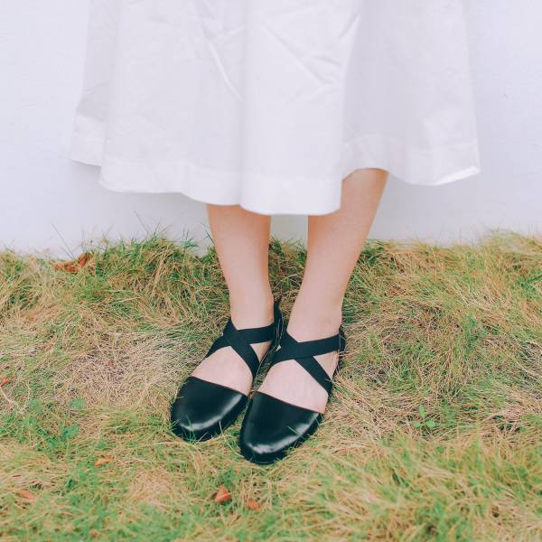 修飾兩側足寬!交叉彈性帶小舞鞋 全真皮  MIT-黑 MIT,全真皮,芭蕾舞鞋,平底鞋