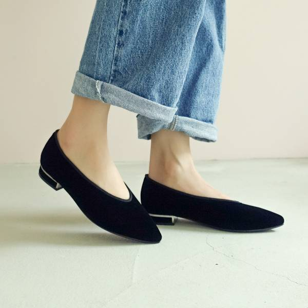日本天鵝絨!曖曖光澤優雅尖頭鞋 黑 MIT 【Major Pleasure】-墨黑 平底鞋,尖頭鞋,,MIT,手工鞋,Vintage,復古,絲絨,天鵝絨