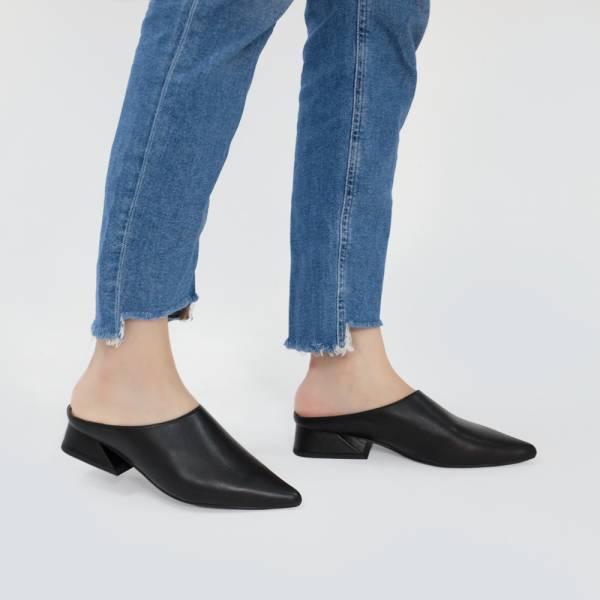 微正式!簡單純色調尖頭穆勒鞋 黑 全真皮MIT【Major Pleasure】-焦黑色 MIT,真皮鞋,穆勒鞋,好穿鞋,拖鞋