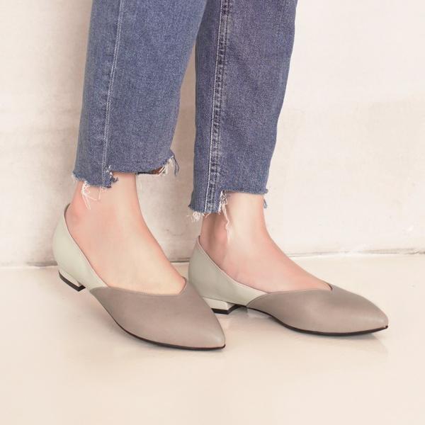 顯瘦修修腳!優雅絲絨雙色平底鞋 全真皮 MIT -米×灰 MIT,真皮,平底鞋,好穿鞋,舒適鞋,尖頭