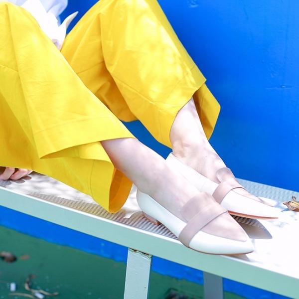【零碼出清】完美偽瘦腳!蜜光粉蠟雙色平底鞋 內外全真皮 MIT -卡其棕   裸色 MIT,真皮,平底鞋,尖頭鞋
