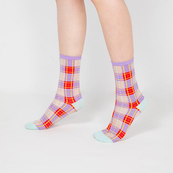 sheer socks透紗襪・幾何系列_葡萄醬_經典格紋透紗中筒襪・PAPERSELF mit,短襪,棉襪,+10