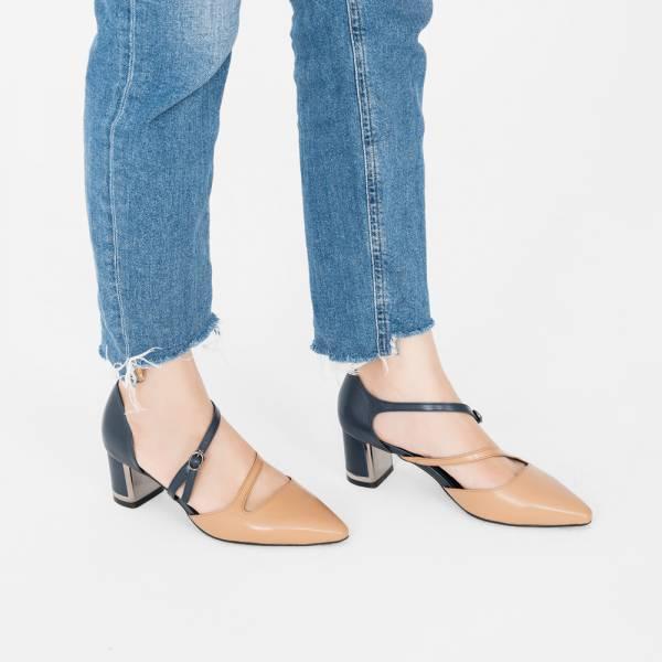 光焦鞋跟!挖背修飾線條中跟鞋 藍 全真皮 MIT 【Major Pleasure】-藍釉炎 mit,真皮鞋,跟鞋,中跟鞋,上班鞋,約會,耶誕穿搭