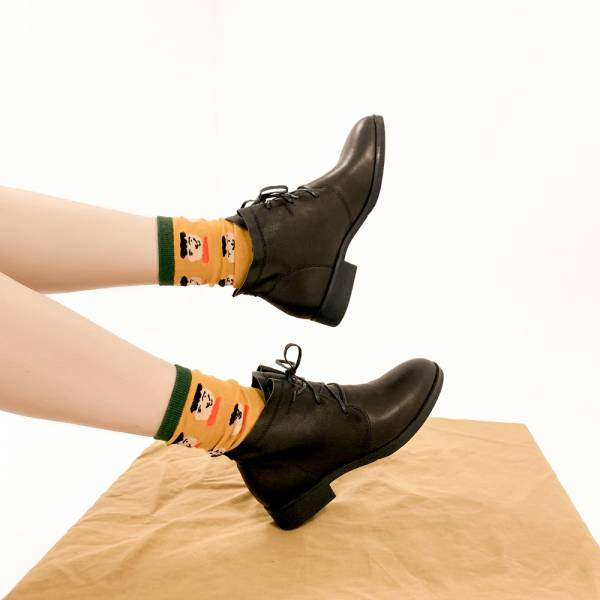 研究室的選品・皺皺軟羊皮!修飾腿型綁帶短靴 黑 內外全真皮【Major Pleasure】-黑